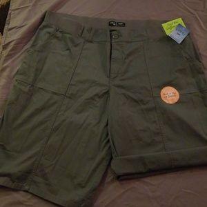 Grey, Mid Rise, Bermuda Shorts